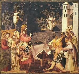 Jesus enters Jerusalem, by Giotto (click for source)
